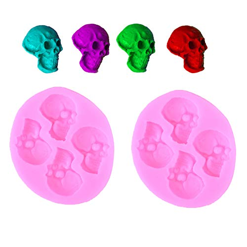 KungFu Mall Halloween 2 PCS Skull Chocolate Mould 3D Head Silicone Cookie Cake Mold for Halloween DIY Baking Party