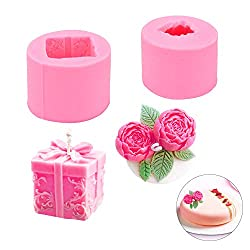 QLWNWQAD 2Pcs/Set Silicone Candle Moulds 3D Rose Candle Mold & Box Gift Wax Mold Homemade Soap Mould DIY Craft Flower Candle Molds for Cake Decoration Wedding Birthday Party Christmas Gift(Pink)