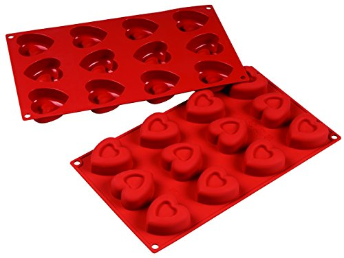 Silicone Bakeware 12 Cavity Hearts Non Stick Quality Silicone Baking Mould  red/Brown  29.5x17.5x2.2 cm