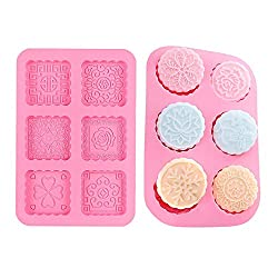 Gobesty Silicone Soap Mold  2pcs Silicone Cake Mould 6 Cavity Chocolate Mold Mooncake Flowers Baking Mold for Making Jelly Pudding Cookies Chocolate DIY Handmade Soap