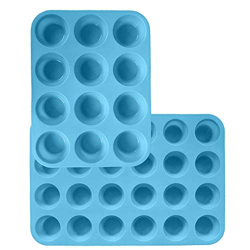 Silicone Muffin Pan Mini 24 Cups Cupcake Baking Pans and Regular 12 Cups Silicone Muffin Mould Blue Non Stick Muffin Tray Baking Moulds 2Pcs Cupcake Baking Mould for Muffins or Cupcakes  Bakeware