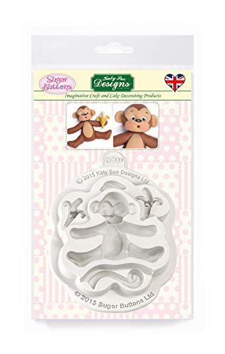 Monkey Silicone Mould for Cake Decorating  Crafts  Cupcakes  Sugarcraft  Cookies  Candies  Cards and Clay  Food Safe Approved  Made in The UK  Sugar Buttons by Kathryn Sturrock