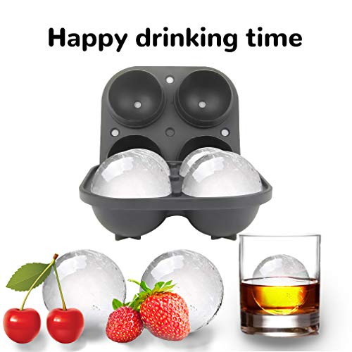 Silicone Ice Cube Mould for 4 Large Ice Balls  Plastic Bottom Silicone Mould Round ice Cubes 16 * 16 * 6.5cm Round Sphere Large Ice Cube Tray to Make Massive Sized Whiskey Ice