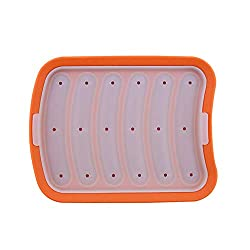 Hot Dog Mould  Sausage Moulds Hot Dog Trays Baking Mold DIY Cooking Moulds Food Grade Silicone Home Bacon Mould (Orange)