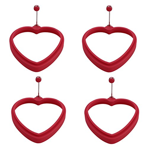 OUNONA Heart Shaped Silicone Egg Pancake Rings Creative Omelette Mould Shape for Eggs Frying Pancake Cooking Mould 4pcs (Red)