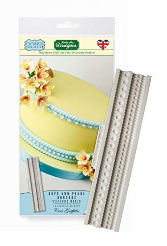Katy Sue Designs and Pearl Borders Silicone Mould  Ceri Griffiths Creative Cake System for Cake Decorating  Crafts  Cupcakes  Sugarcraft  Candies  Cards and Clay  Food Safe Approved  Made in The UK