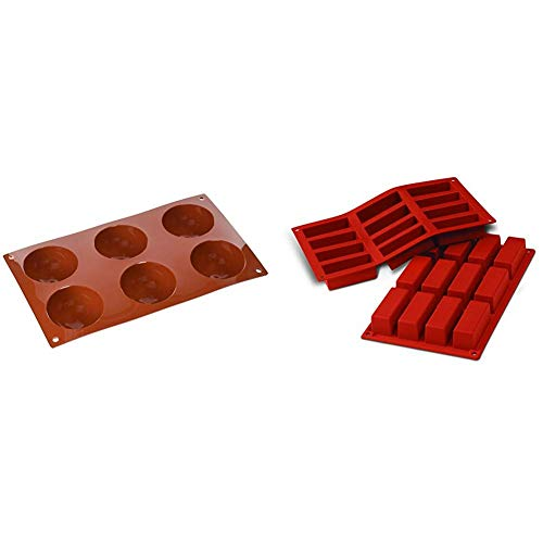 silikomart Silicone Mould Semi-Sphere  Extra Large  70 mm  Terracotta  L & Silicone Mould Mini Rectangular Cakes  Terracotta