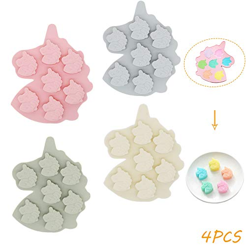 X-BLTU 4PCS Unicorn Head Ice Cube Tray Silicone Fondant Mould Cake Decorating Chocolate Cookies Candy Jelly Soap Baking Mold Sugarcraft DIY 7-Cavity
