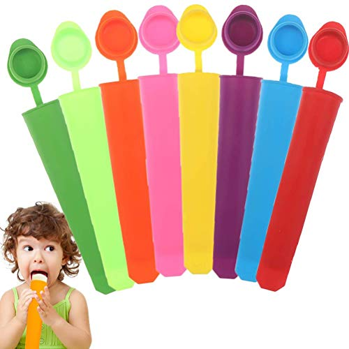 NIU MANG 8 Pcs Silicone Ice Pop Mould Popsicle Molds Attached Lid Reusable DIY Freezer Ice Cream Moulds  Multi Colors
