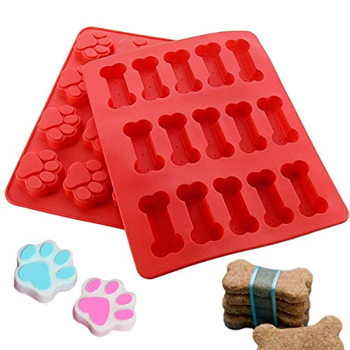 Joyoldelf Silicone Baking Molds-Pan-Ice Trays  Puppy Paws & Bones Cake Mould for Sweet Candy Jelly Chocolate Biscuit