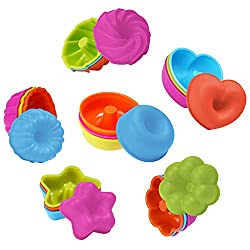 Aschef 24 Pcs Silicone Cupcake Molds  Reusable Nonstick Heat Resisitant Mini Baking Cups Cases with 50 Pcs Flags  Muffin Donut Pan Mould for Cakes Ice Creams Puddings etc - 6 Shapes 4 Colors