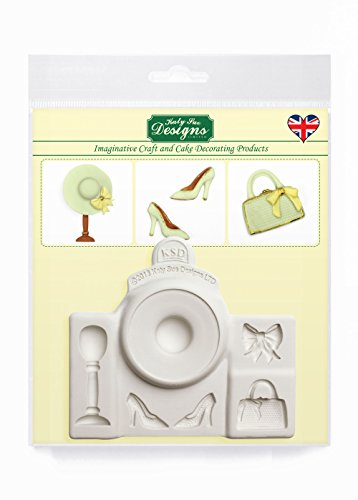 Fashion Accessories Silicone Mould (Hat  Bag  Shoes  Bow and Hat Stand) for Cake Decorating  Crafts  Cupcakes  Sugarcraft  Candies  Cards and Clay  Food Safe Approved  Made in The UK