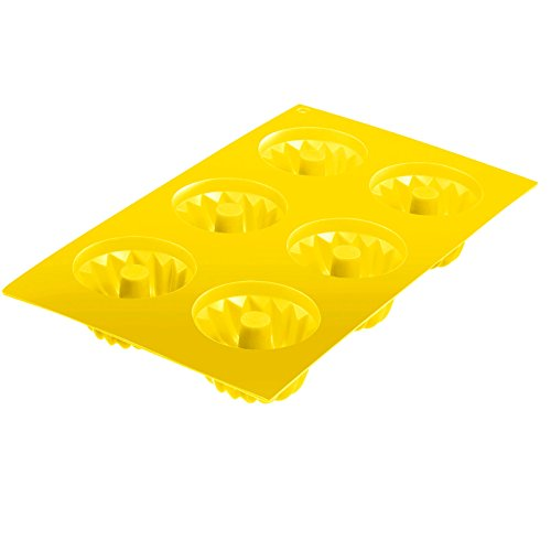 Westmark Classic Baking Mould for 6 Small Cakes  Silicone  Yellow  29.3 x 17.5 x 3 cm