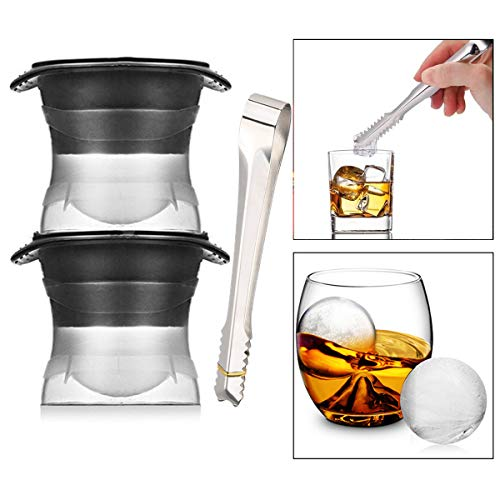 TheStriven 6cm Ice Ball Mould Set of 2 Extra Large Silicone Ice Ball Maker BPA Free Reusable Sphere Shapes Ice Cube Tray Easy Release Jelly Milk Juice Chocolate Mold or Cocktails Whiskey + 1 Ice Clip