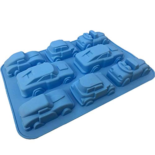 Silicone Moulds  MKNZOME 8 Cavity 3D Car Shaped Chocolate Moulds Muffin Tray Soap Mould Baking Bakeware Mold for Cake Soap Candy Chocolate Cupcake Jelly Bread Pudding Muffin