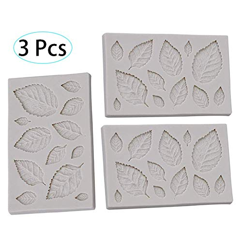 Silicone Leaves Modeling Mould 3 Pcs DIY Chocolate Maker Bakeware Fondant Candy Mould Cake Decor Icing Sugar Craft Ice Cube Trays Mold Baking Tools
