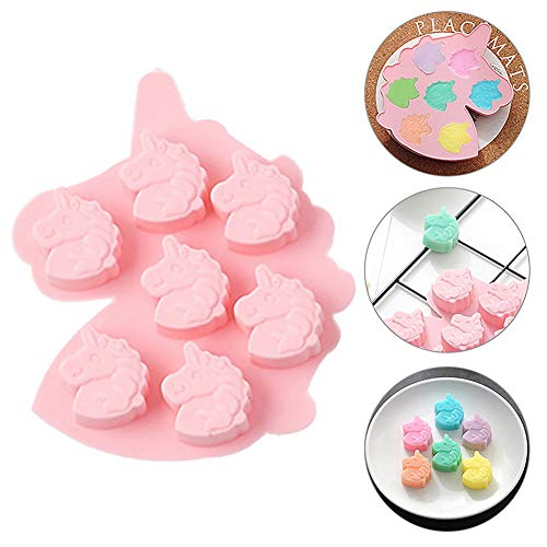 Unicorn Head Ice Cube Tray Silicone Fondant Mould Cake Decorating Chocolate Cookies Candy Jelly Soap Baking Mold Sugarcraft DIY 7-Cavity (Pink)