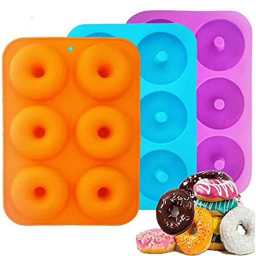 Sprießen Silicone Donut Molds  3 Pieces Silicone Doughnut Mould  Non-Stick Food-Safe Silicone Baking Tray for Biscuits  Bagels  Muffins  Suitable for dishwashers  ovens  microwaves  refrigerators