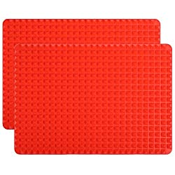 Aonewoe Silicone Pyramid Baking Mats Non-Stick Fat Reducing Health Cooking Mat Silicone Pastry Mould Mats Heat-Resistant Oven Baking Tray for BBQ 40.5x29cm Set of 2 Red