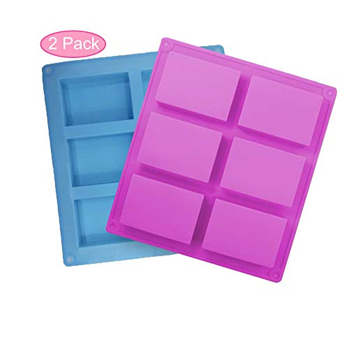 Silicone Mould  Soap Moulds  2 PCS Rectangle Silicone Cake Mould  6-Cavity Cake Baking Pans  Biscuit Chocolate Ice Cube Soap Trays - Blue  Purple