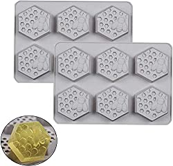 3D Honeycomb Soap Silicone Mould Silicone Ice Cube Tray Soap Moulds Reusable Handmade Soap Maker Suitable for Cake Decorating Chocolate Cookies Sugar Craft DIY 2pcs