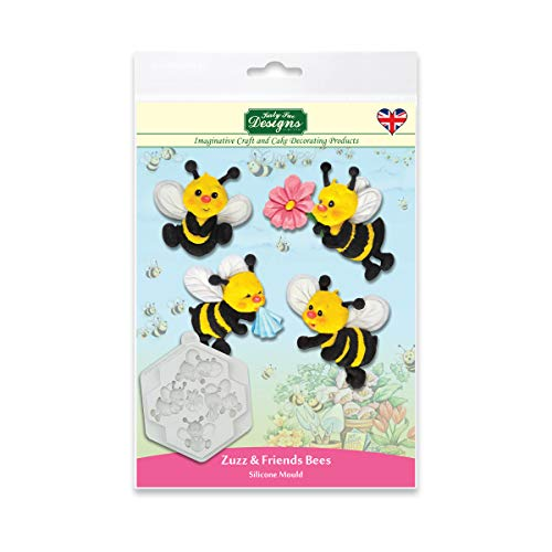 Katy Sue Designs CE0110 Zuzz & Friends Bees Silicone Mould for Cake Decorating  Crafts  Cupcakes  Sugarcraft  Candies  Cards and Clay  Food Safe Approved  Made in The UK