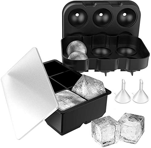 Simpeak 2 Pack Ice Cube Trays with Lid Silicone  with 2 Funnel Large Ice Cube Mould Maker Use for Candy Pudding Jelly Milk Juice Chocolate Mold or Cocktails Whiskey Particles