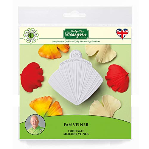 Fan Veiner Silicone Sugarpaste Icing Mould  Flower Pro by Nicholas Lodge for Cake Decorating  Crafts  Cupcakes  Sugarcraft  Candies  Cards and Clay  Food Safe Approved  Made in The UK