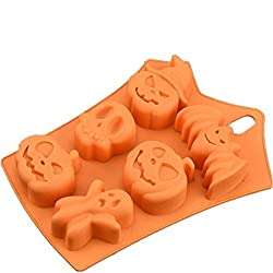 Fyuan Funny Bat Pumpkin Face Skull Ghost Silicone Fondant Cake Mold Chocolate/Sugar Craft/Ice Cube Tray  Halloween Party Sweets Decor Mould 23 * 16.5 * 3CM - Orange,Pack of 1