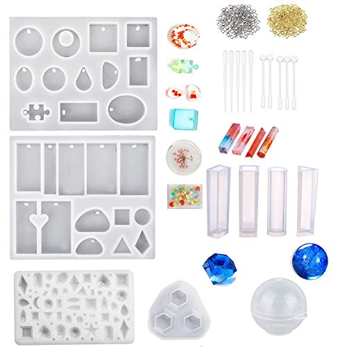 Jatidne Silicone Resin Moulds for Jewellery Making UV Resin Mould Casting Kit DIY Sphere Diamond and Many Different Shapes