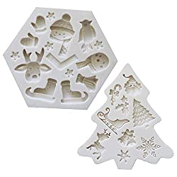 2 Pcs Fondant Silicone Molds  CNYMANY 14 Cavity 3D Christmas Snowflake Bell Sugar Craft Cake Decoration Cupcake Topper Crafting Projects Gum Paste Resin Polymer Clay Mould