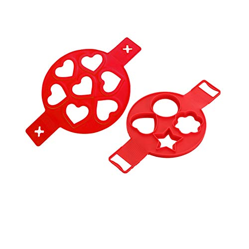 New Upgraded Pancake Mould Maker 2 Set 11Piece Non-Stick Silicone Baking Round Mold Egg Ring Muffin Mold Heart/Star/Flower Shape Saving Time (Red)