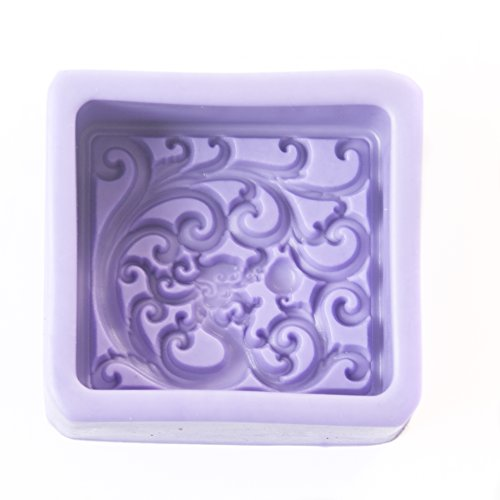 World Of Moulds Classic Square with Fractal Waves Mould  Silicone  8 x 8 x 3.5 cm