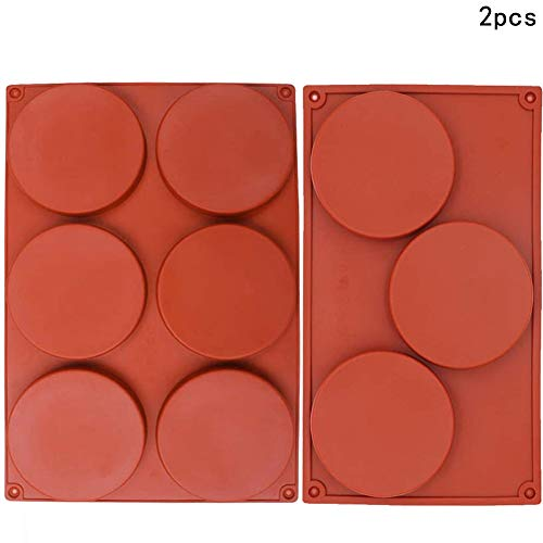 Disc Mold - WENTS 2PCS 3/6 Cavity Large Round Silicone Mould Disc Candy Pastry Bakeware Resin Coaster Non-Stick Baking Moulds Handmade Soap Molds Gustard Resin Coaster Tart