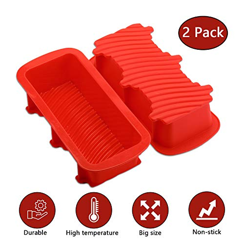 KATELUO 2 Pack Large Silicone Bread Tin  Silicone Loaf Pans  Large Silicone Bread Mould for DIY Loaves  Toast  Cakes  Bread (Red)