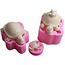 September Europe 3PCS Turtle Animal Fondant Silicone Mould DIY Cake Decorating Chocolate Baking Gypsum Clay Soap Making