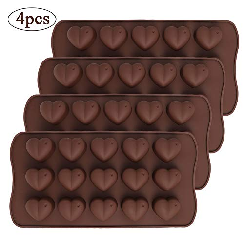 falllea 4 Pack Heart Silicone Chocolate Candy Mould Silicone Dimpled Valentine Heart Chocolate Gummy and Candy Mold