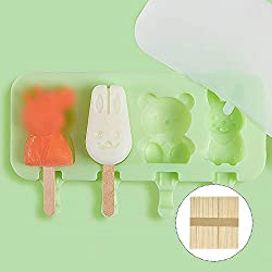 Gobesty Ice Lolly Moulds for Children  4 Cavities Ice Cream Bar Mold Silicone Mould with Lid and 50 Wooden Sticks DIY Ice Pop Mould Pig  Rabbit  Bear  Green