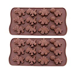 12-Cavity Mini Silicone Dinosaur Shape Cake Molds Pans  Ice Cube Chocolate Soap Cake Bread Jelly Candy Making Decorating Baking Mould Tray  Non Stick Flexible Silicone DIY Molds - 2 Pack