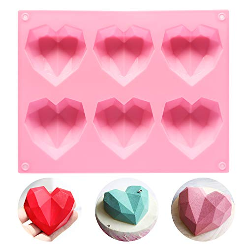 Lamapee Heart Silicone Mould  Food Grade Silicone Mould for Chocolate  Soap Wax melt  BPA Free  Pink