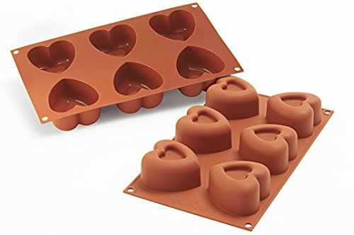 silikomart Silicone Mould No. 6 Heart-Shaped Savarin  Large  Terracotta  L