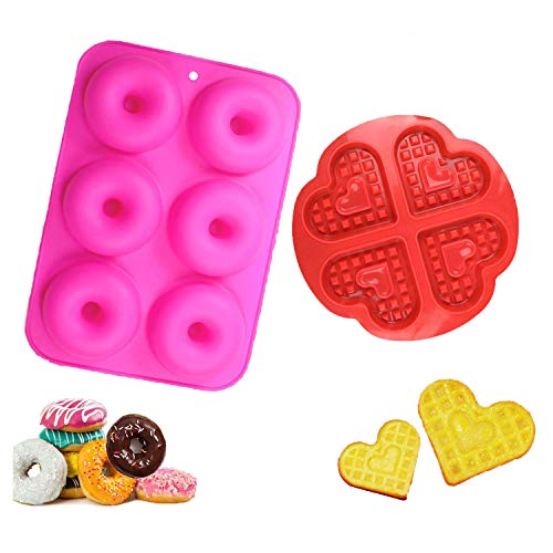WELLXUNK Silicone Donut Molds  2 Pack Silicon Doughnut Mould  6 Cavity Non-Stick Safe Silicone Donut Baking Pan for Cake Biscuit Bagels Muffins-Orange  Green (Rose Red)