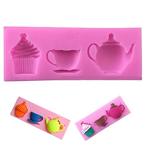 EORTA Silicone Paste Cake Fondant Mould Teapot Cup Cup Cupcake Pattern Decorating Baking Soap Mold for Birthday Christmas Party DIY Decorations  Random Color