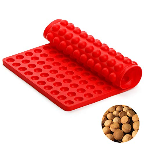 SveBake Silicone Baking Mat – 2 cm Hemisphere Silicone Mat with Nubs – 221 Baking Mould for Dog Biscuits and Dog Treats – Baking Paper – Baking Mat – Chocolate Mould 38.5 x 27.5 cm red
