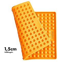 Collory Silicone Baking Mat 1.5 cm Hemisphere Baking Mould for Dog Biscuits Heat Resistant 240 °C 40 x 29 cm Food Safe (BPA Free) Chocolate Mould Non-Stick Orange