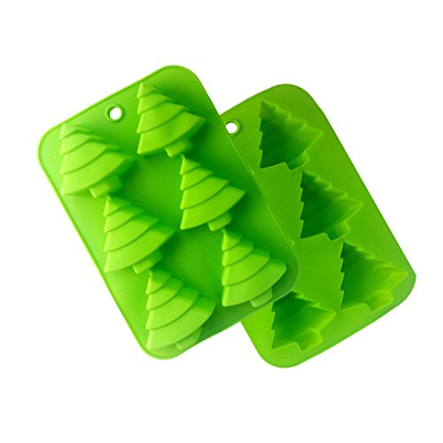 MKNzone 1 pc 6 cavities Silicone Mould for Chocolate  Jelly and Candy etc. - Christmas tree Christmas Theme(25.5 X 17.5 X 3 cm)