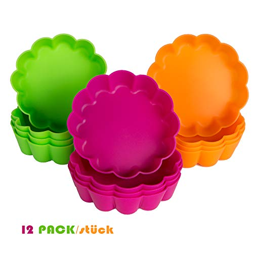 webake 12 Pcs Tart Tins Mini Quiche Dishes Silicone Tart Mould Non-Stick Round Fluted Flan Pan Pie Tin Cake Baking Tray Multi Colour 8x2.2cm / 3.14 x0.86""