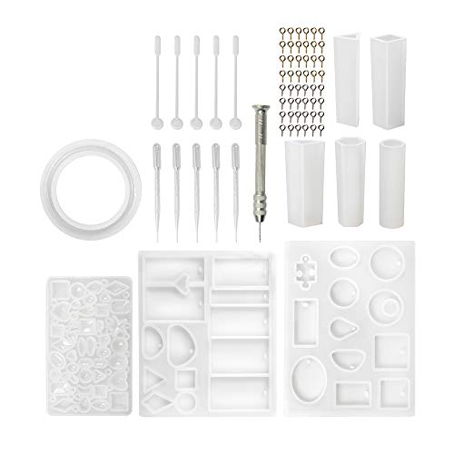 SEVEN HITECH Silicone Resin Kits Jewelry Casting Mould Tools Set Included Jewelry Pendant Moulds  Stud Earrings  Eye Screw Pins and Making Tools for Jewelry Craft Making JMPZDZ
