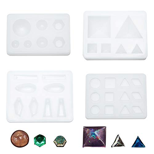 WANDIC Silicone Mold  Set of 4 Mirror Surface Decorating Mould Resin Mold of Geometry Shapes for Pendant DIY Toys Decorative Ornaments Art & Craft