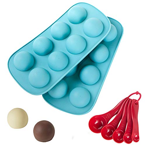 Webake 2 Pack Semi Sphere Mould Half Round Hemisphere Silicone Bakeware Mould 8 Holes Semicircle Chocolate Mould with 5 Pcs Measuring Spoon for Jelly Pudding Candy Cookie
